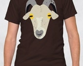 Men's Crew Tee - Old Goat Shirt - Size XS-S-M-L-XL-2XL-3XL - Guys Graphic Tee Farm Animal Goat Face