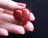 Red Heart Ring, Sparkly Heart, Handmade, Resin Glitter Jewelry, Glitter Resin Ring, gift idea for her by isewcute
