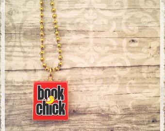 Scrabble Tile Art Pendant - Book Chick - Scrabble Jewelry Necklace - Customize - Choose Your Style