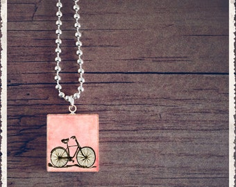 Scrabble Tile Art Pendant - Little Pink Bike - Scrabble Jewelry Charm - Customize