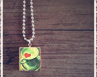 Scrabble Art Pendant - Life Is Beautiful - I Love Coffee - Scrabble Game Tile Jewelry - Customize