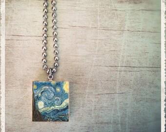 Scrabble Art Pendant - Van Gough Starry Night - Scrabble Game Tile Jewelry - Customize