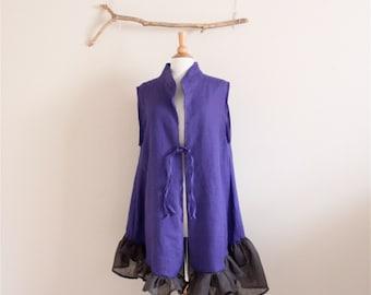 "bust 44"" room lagenlook ruffle purple linen vest  ready to ship by annyschoo solar studio"