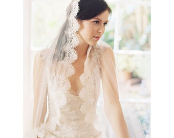 Wedding Veil, Lace Mantilla Bridal Veil, Chapel, Silk tulle lace mantilla bridal- Voile de Mariee no. 1989