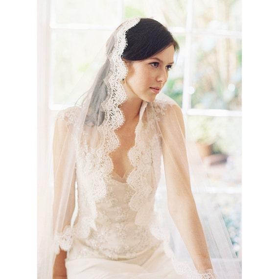 Wedding Veil, Lace Mantilla Bridal Veil, Chapel, Silk tulle lace mantilla bridal- Voile de Mariee no. 1989