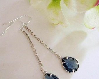 Sapphire Teardrop Earrings, Dangles Drops, Modern, Long Earrings, Bridesmaid Earrings, Wedding Jewelry