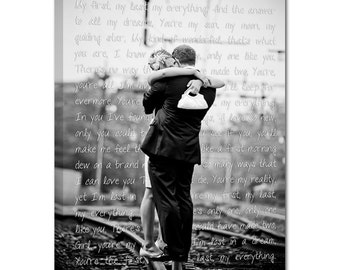Cotton Anniversary Gift Personalized Unique Wedding Present Photo and writing typography OOAK canvas 10X14 Geezees Canvas Vow Art