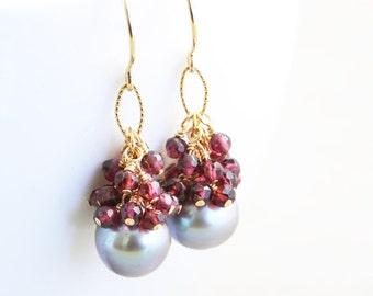 Pearl Dangle Earrings, January Birthstone, Garnet Cluster Earrings, Garnet Jewelry