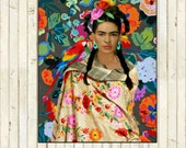 Frida Kahlo Parrot Floral Print Instant Digital Download Photomontage Mod Turquoise Blue Green Red Yellow Green Black White Small t Poster