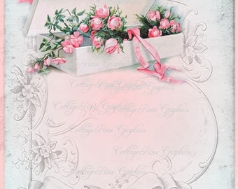Vintage Box of Pink roses collage Add Your Own Text Large digital download ECS buy 3 get one free