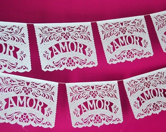 Papel Picado Banner AMOR FILETEADO - custom color - wedding decorations