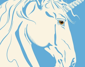 Unicorn Print, Fairytale Art, Mythical Creature, Giclee Print Large