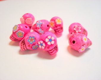 Pink Cotton Candy Sugar Skull Beads-Collection of 8 13mm beads