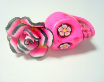 Large Pink and Black Sugar Skull Rose Day of the Dead Pendant or Ornament