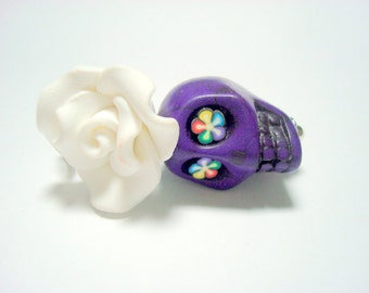 Large White and Purple Sugar Skull Rose Day of the Dead Pendant or Ornament
