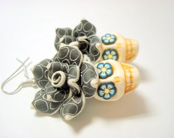 Black, White, and Blue Flower Eyes Day of the Dead Sugar Skull Earrings Large