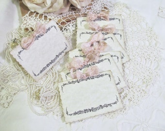 Place Name Seating Cards Parchment Table Tent Buffet - Blank w/ribbon bows - Set of 8 - Wedding Bridal Shower Lingerie Bachelorette