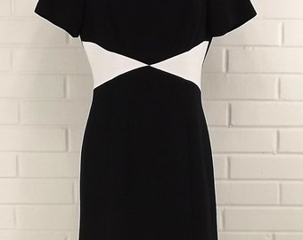 Vintage 80's Color Block Dress, Black and White, Size 8, Fitted Sheath
