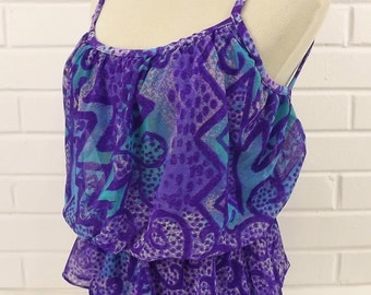 Vintage 70's Swim Suit, One Piece, Purple and Teal Green, Size 8