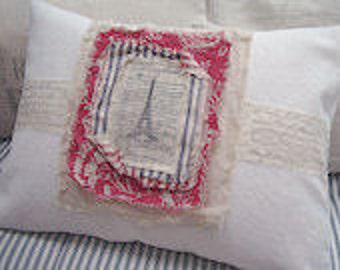 PaRiS French/ReD Down Pillow /Decorative/Lumbar Accent/Toile /Cottage /Shabby Chic/White Denim/Beach Decor/Throw Pillow