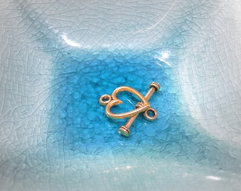 50% Off Pack of 5 Heart Toggle Clasps, clasps antique gold plated pewter 14x12mm CL0038