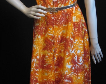 60s Abstract Maxi Dress L Flaming Sunsets