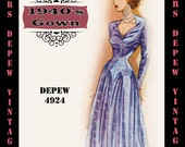 Vintage Sewing Pattern 1940's Cocktail or Evenning Gown in Any Size - PLUS Size Included - Depew 4924 -INSTANT DOWNLOAD-