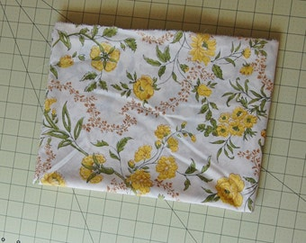 1 Yard Vintage Yellow Floral Fabric
