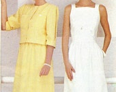 1980s Dress Pattern and Jacket Butterick 6426 Square Neck Princess Seam Sundress Boxy Jacket Vintage Sewing Pattern Bust 31 1/2 Uncut