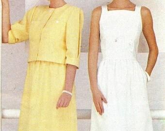 1980s Dress Pattern and Jacket Butterick 6426 Square Neck Princess Seam Sundress Boxy Jacket Vintage Sewing Pattern Bust 31 1/2 Uncut