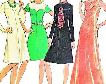 1970s Dress Pattern McCalls 3909 Yoked A Line Day Evening Dress Keyhole Bodice Womens Vintage Sewing Pattern Bust 40 Plus Size Uncut