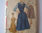 Adorable 1950s vintage sewing pattern for blouse & skirt or jumper with patch pockets in large wearable size 22 1/2 Simplicity 1284 bust 41