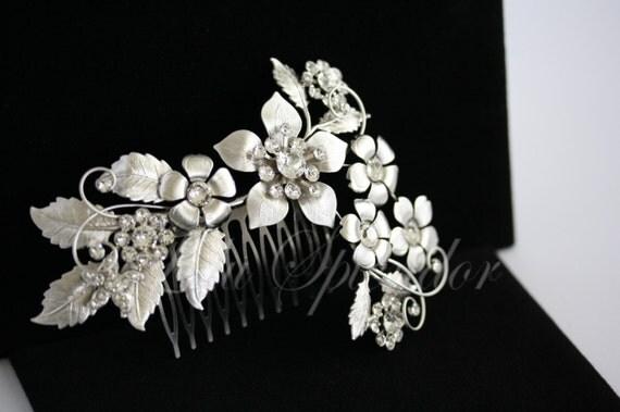 Bridal Headpiece Flower Hair Comb Wedding Hair Accessories Wedding Hair Comb Silver Flower Leaf Comb Crystal Pearl GAEA GRAND