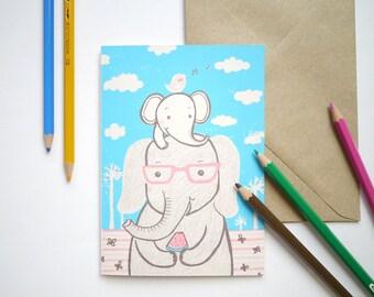 Elephant family - hand printed I Love you, birthday, New baby Card