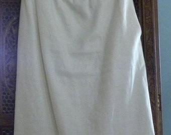 Vintage Yves Saint Laurent PARIS France Ivory White Linen Long PENCIL SKIRT Rive Gauche Capsule Wardrobe Basic Size 6
