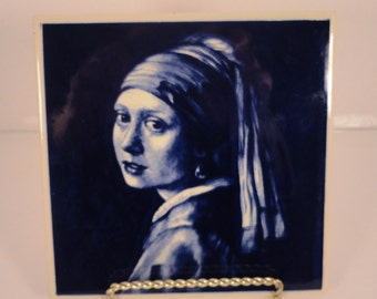Blue Delft Tile Woman with Pearl Earring Plus Book