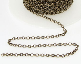 25 Foot Spool Slender Antique Brass Chain Bulk TierraCast 2mm x 3mm Cable Chain - Loose Bronze Chain for Jewelry and Necklaces 20-0725-27