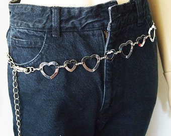 HEARTTHROB // Vintage 80s Heart Belt Chain Link Belt Silver Metal Kawaii 1980s Accessory Size S - M