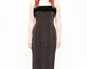 Vintage 90's Leopard Print Velvet Wiggle Maxi Dress Evening Wear // Form Fitting Spaghetti Strap Formal Wear- Size Small / Medium