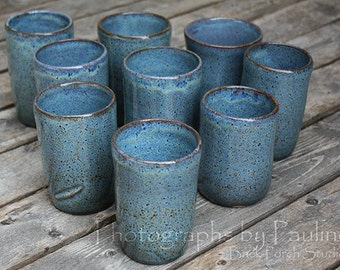 CLEARANCE SALE Stoneware Blue Tumbler with Straight Rim