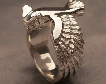Great horned owl ring - Sterling silver