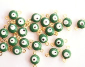 5pcs- Matte Gold Plated Green evil eye connector-13x5mm (006-033GP)