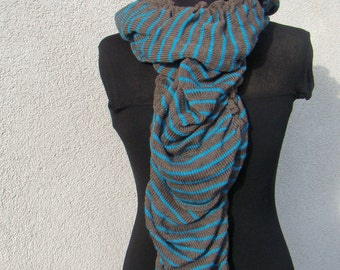 Striped Merino Scarf Brown and Turquoise Stripes Loose Knit Soft Merino Mohair Alpaca Wool Long Scarf Birthday Mother's Day Gift