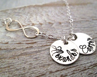 Infinity Mother's Necklace - Mothers Jewelry -   Hand Stamped Necklace -