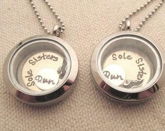 Sole Sisters - Marathon Necklaces -  Set of 2 Lockets - Floating Charm Locket - 13.1 Locket - Running Jewelry - Personalized Jewelry