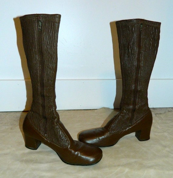 vintage 1960s boots mod brown leather go go boots 8 by