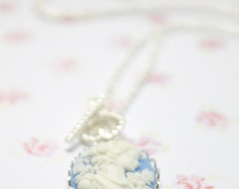 Victorian SKY BLUE Toggle  Cameo  Necklace- Womens