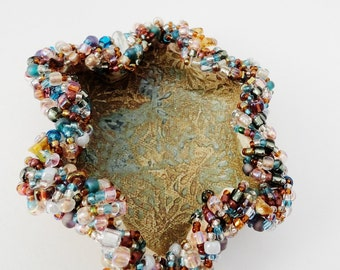 Beaded Bowl, Small Ceramic Bowl,  Jewelry Holder, Blue Teal Rust Brown Amber Root Beer, Undulating, Asummetrical
