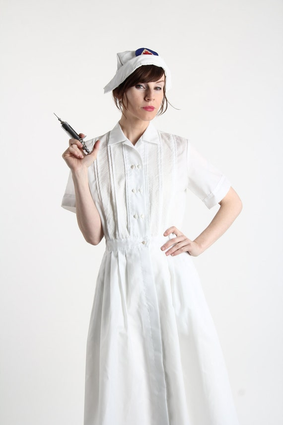 White Nurse Uniform Dress 38