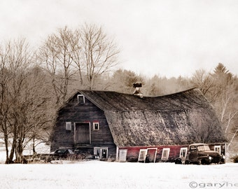 Old barn, Old Truck - Rustic Winter Landscape, Barn Photography, Free Shipping, Swayback Barn, Color Photography Barn Print, Signed.